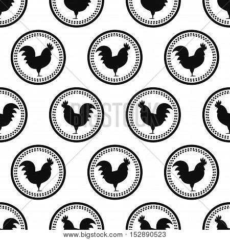 Rooster seamless pattern on white background. Symbol of 2017 year. Chinese New Year of the Rooster. Oriental happy new year illustration.