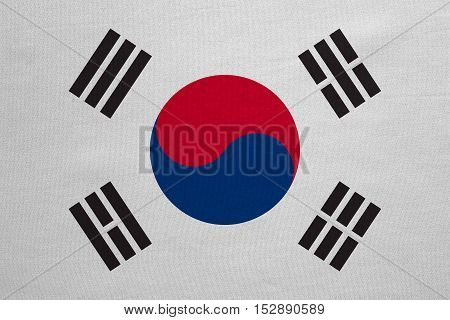 South Korean national official flag. Patriotic symbol banner element background. Correct colors. Flag of South Korea with real detailed fabric texture accurate size illustration