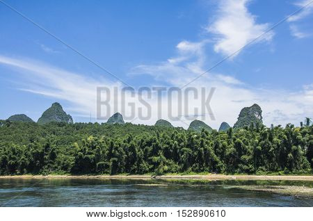 The karst mountains and Lijiang river scenery with blue sky
