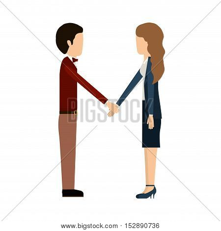 executive man and woman with handshake business deal over white background. vector illustration