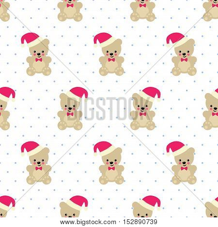 Xmas Teddy Bear with Santa hat seamless pattern on white polka dots background.