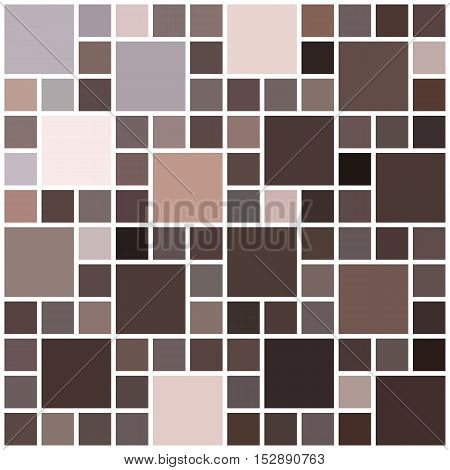 Colorful mosaic background. Color mosaic texture. Chocolate shades. Brown particles. Vector illustration.