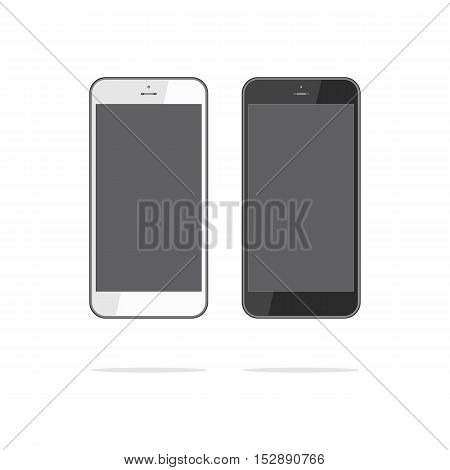 Realistic mobile phone smartphone collection with blank screen isolated on white background. Vector illustration. For printing and web element game and application mockup.