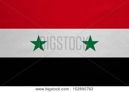 Syrian national official flag. Patriotic symbol banner element background. Correct colors. Flag of Syria with real detailed fabric texture accurate size illustration