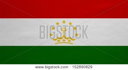 Tajikistani national official flag. Patriotic symbol banner element background. Correct colors. Flag of Tajikistan with real detailed fabric texture accurate size illustration
