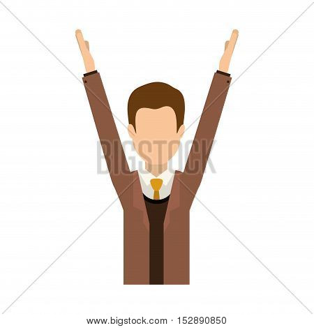 avatar male man with arms up and  wearing suit and tie over white background. vector illustration