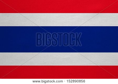 Thai national official flag. Patriotic symbol banner element background. Correct colors. Flag of Thailand with real detailed fabric texture accurate size illustration