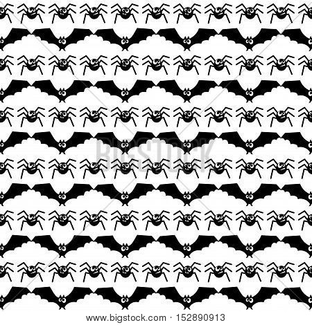 Halloween pattern with bats and spiders. Seamless halloween background. Happy Halloween concept illustration.