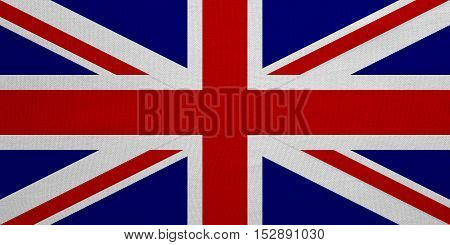 British national official flag. Patriotic UK symbol. Great Britain banner element background. Correct colors. Flag of the United Kingdom real detailed fabric texture accurate size illustration
