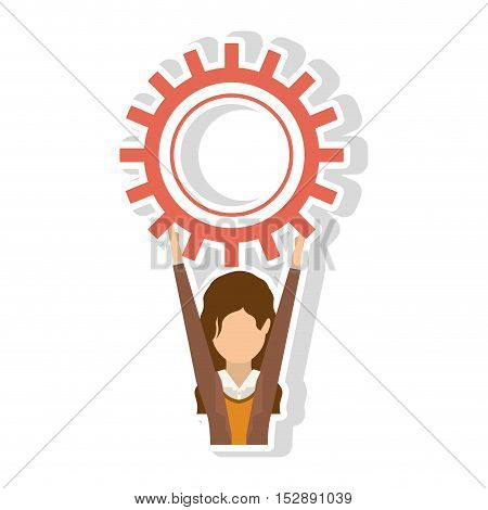 avatar female woman wearing executive clothes with arms up holding a gear wheel over white background. vector illustration