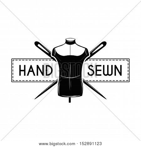 Vintage label with fashion mannequin isolated on white. Hand Sewn. Vector Illustration