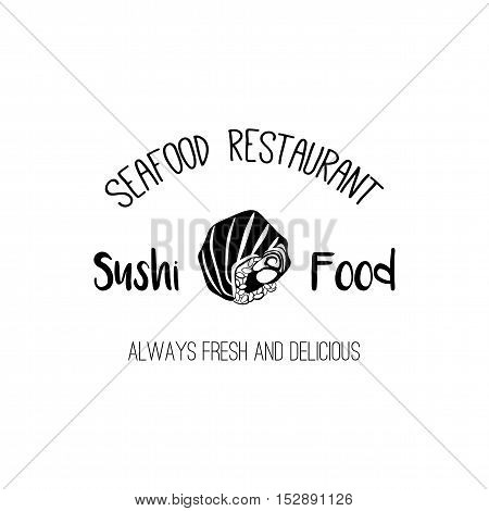 The Salmon roll. Sushi Menu. Japanese Cuisine. Vector Illustration