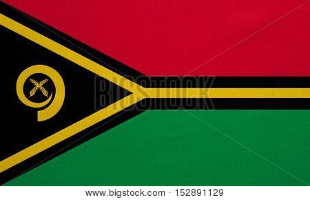 Vanuatuan national official flag. Patriotic symbol banner element background. Correct colors. Flag of Vanuatu with real detailed fabric texture accurate size illustration
