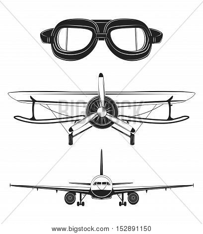 Air transport set Pilot glasses, airplane, retro biplane, propeller Vector illustration
