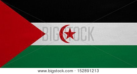Sahrawi national official flag. Western Sahara patriotic symbol. SADR banner element background. Correct colors. Flag of Sahrawi Arab Democratic Republic fabric texture accurate size illustration