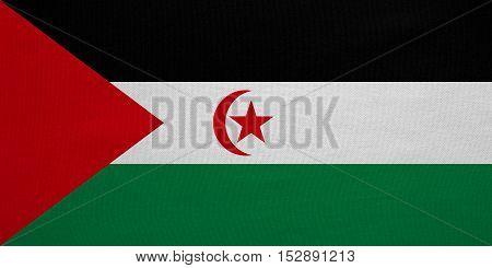 Sahrawi national official flag. Western Sahara patriotic symbol. SADR banner element background. Correct colors. Flag of Sahrawi Arab Democratic Republic fabric texture accurate size illustration