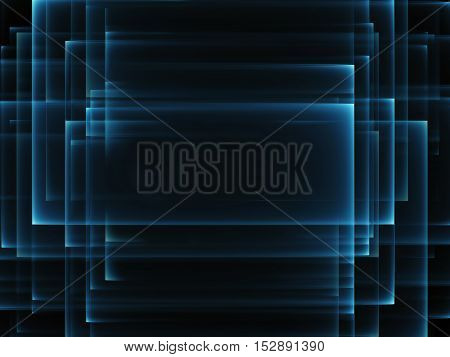 Abstract background. Blue rectangle forms on black. Technology concept