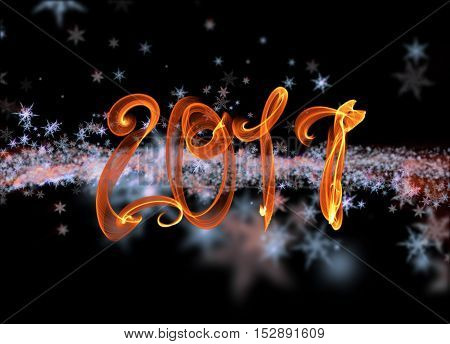 Snowflakes Winter Field Cloud Background And 2017 Fire Flame Lettering. Happy New Year, Christmas Th