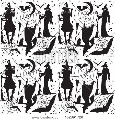 Halloween Magic pattern. Magic background with witch woman and bat and spider's web on white background. Black and white color. Vector illustration.