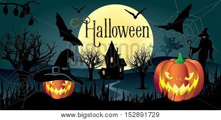 Halloween. Halloween party. Halloween greeting card background. Halloween illustration with Halloween pumpkin, bat, trees, House, moon and witch woman for Halloween Holiday. Halloween vector illustration. Hand Drawn.