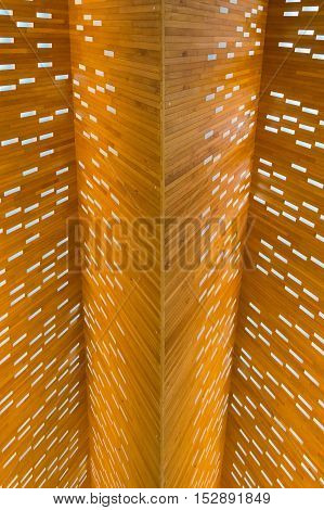 Surface Of The Wood Construction With Small Lamps