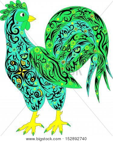 Rooster with a long tail, poultry, a symbol of New year, a large cock, an animal with a pattern on a body, an ornament on an animal, a vector illustration of chicken