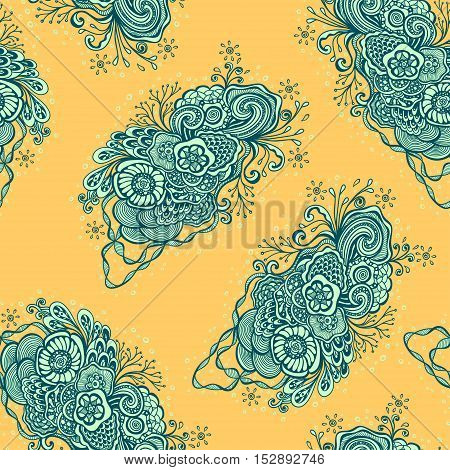 Seamless pattern with  Doodle elements in vintage handmade style in blue orange for wallpaper or for package or for decoration clothes or T-shirt or furniture or for advertising cosmetic perfume