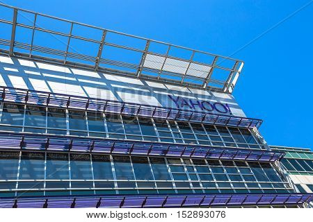 Sunnyvale, California, United States - August 15, 2016: Yahoo Headquarters facade building. Yahoo is a multinational technology company that is known for its web portal.