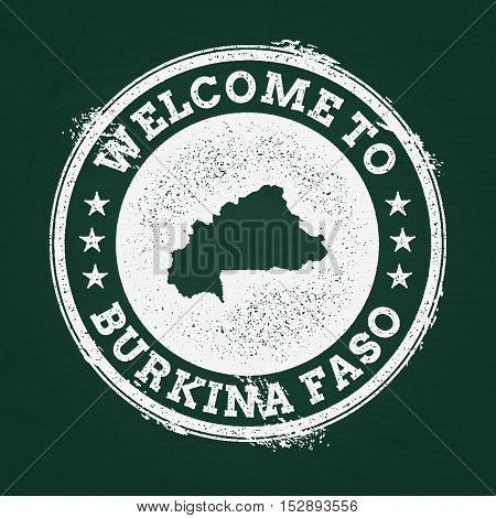 White Chalk Texture Retro Stamp With Burkina Faso Map On A Green Blackboard. Grunge Rubber Seal With