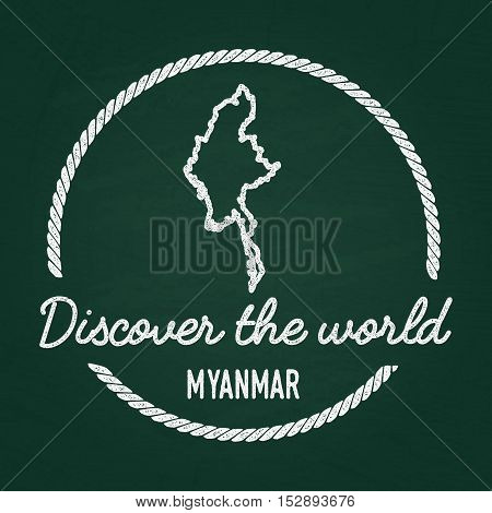 White Chalk Texture Hipster Insignia With Republic Of The Union Of Myanmar Map On A Green Blackboard