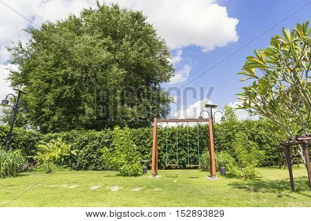 vacation park on summer and blue sky - can use to display or montage on product