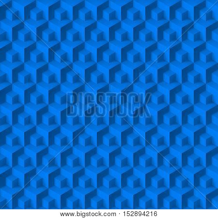 Abstract geometric background with cubes in blue color