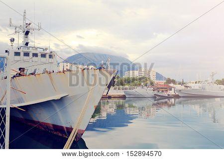 Gray Old Warships In  Port