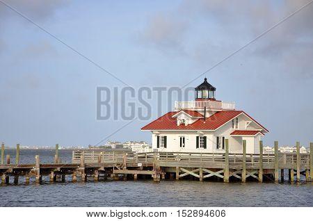 Roanoke Marshes Lighthouse in Roanoke Island, Manteo, North Carolina, USA.