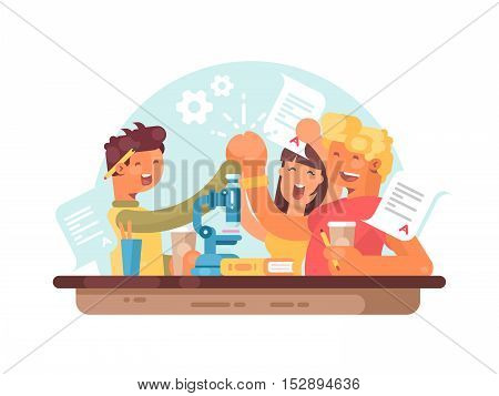 Teamwork, successful students. Young people are happy to scientific success. Vector illustration
