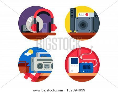 Audio device set. Headphones with player, recorder or stereo system. Vector illustration