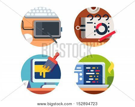 Computer software design and drawing. Graphics tablet and programs functions. Vector illustration