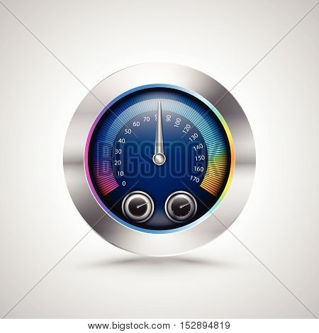 Shiny Colorful Speed meter isolated. Vector illustration.