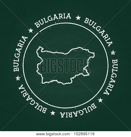 White Chalk Texture Rubber Seal With Republic Of Bulgaria Map On A Green Blackboard. Grunge Rubber S