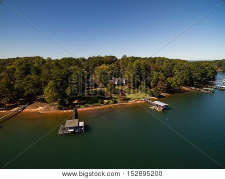 Aerial picture of lake houses and docked boats in South Carolina