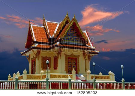 Phraphuttha Angkhirot Dhamma Hall landmark of Rayong Thailand in twilight time.