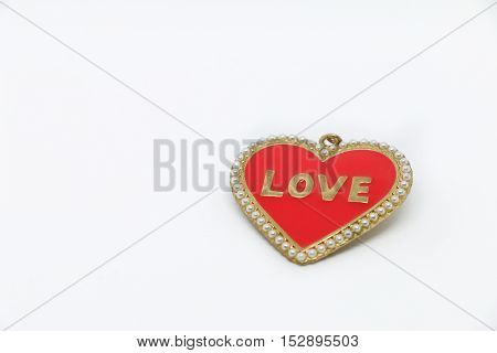 Red heart on the white background. heart Valentine ,