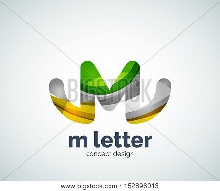 Vector m letter logo, abstract geometric logotype template, created with overlapping elements
