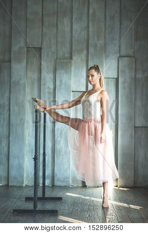 Ballet is like sport. Beautiful professional dancer in pink light skirt posing at camera while standing at barre in dance studio