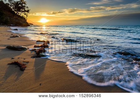 The majestic view and very peace sound of wave at Tanjung Kubong Beach Labuan during sunset