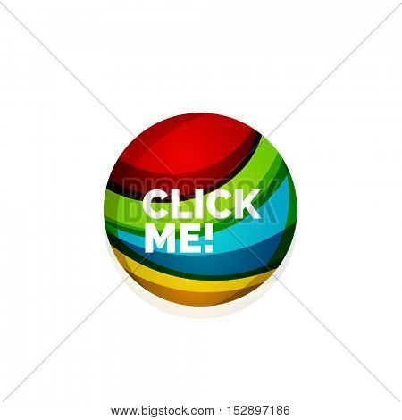 abstract sphere button template. Minimalistic geometric clean style