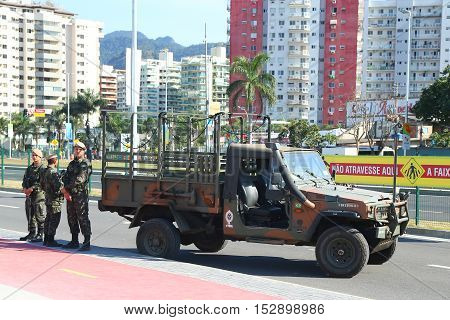 RIO DE JANEIRO, BRAZIL - AUGUST 7, 2016: Brazilian army forces provide security during Rio 2016 Olympic Games near Olympic Park in Rio de Janeiro
