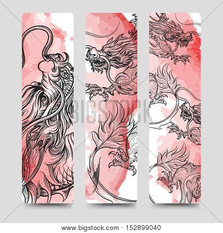 Bookmark set with chinese dragon and watercolor backdrop. Vector illustration