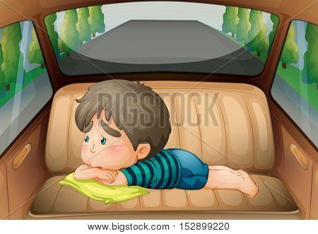 Sad boy in the back of the car illustration