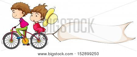 Banner template with people riding bike illustration